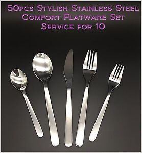 50pcs - New Modern, Stylish & Classic Stainless Steel Flatware - Set for 10