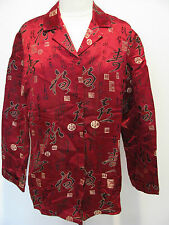 CHICO'S Multicolored Asian Silk Blend Jacket/ Thick Blouse With Design Size 1