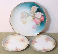 VINTAGE GERMANY WALL DISPLAY PORCELAIN PLATE PINK YELLOW ROSES & 2 SMALL PLATES!