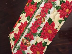 Handcrafted-Quilted Table Runner -Christmas Spirit - Poinsettias & Music - 2021