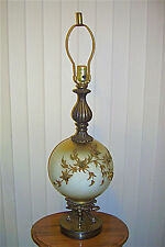 Vintage 1960s Regency Table Lamp Victorian Style w Frosted Glass Globe 4776