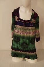 Susan Lawrence Women's Top~Size XL~Multi-Color Batik~Square Neck~Elastic~S/S~VGC