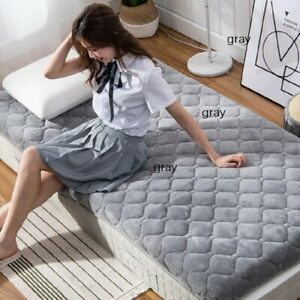 single mattresses warmth Coral fleece  Foldable mats King Queen Twin Full Size