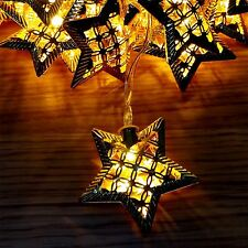 20 LED BATTERY OPRATED GOLD STAR FAIRY STRING LIGHTS WEDDING HOME DECORATIONS