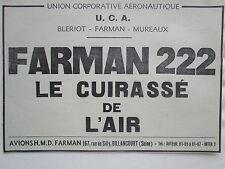 9/1936 PUB UCA AERONAUTIQUE BLERIOT MUREAUX AVION FARMAN 222 ORIGINAL FRENCH AD