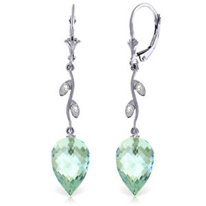 14K White Gold Drop Style Earrings With Blue Topaz And Diamond Accents