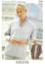 "Sirdar Country Style Knitting Pattern 5639, DK Cardigan, Waistcoat 32"" - 54"""