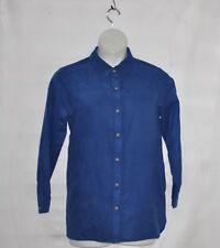 Joan Rivers Long Sleeve Faux Suede Boyfriend Shirt Size S Blue