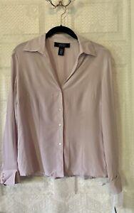 NWT $50 Jones Wear Essentials Silk Blouse Long Sleeve Button Front Light Lilac 6