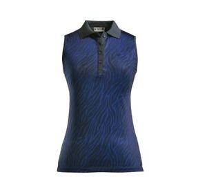 G/Fore Zebra Sleeveless Polo Top Twilight Blue S M L XL Womens Golf