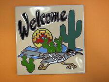 """Ceramic Art Tile 6""""x6"""" Southwest roadrunner welcome sign home decor NEW H76"""