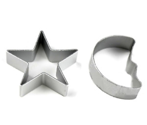 Star & Moon Metal Cookie Cutter Biscuit Pastry Cake Jelly Baking Mould 2pcs Set