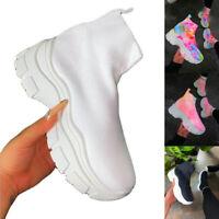 Damen Sports High Top Sneaker Turnschuhe Plateau Socken Schuhe Stiefel Freizeit