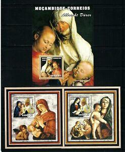 Mozambique 2001-2 Sc#1498,1622-3  Virgin & Child/Pope-Madonna & Child MNH SS $23