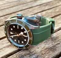 Green Harrods Tudor Style Silicone Rubber 22mm Strap With Deployment Clasp BB