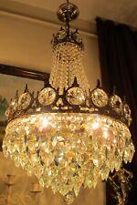 Antique Vintage French Basket style swarovski Crystal Chandelier Lamp Light