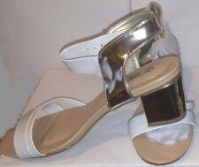 "AVON Cushion Walk MONICA Metallic Heel Sandals. WHITE! Sz7. 2.5""Heel.Women/NIB"