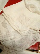 10 Piece Hand Crochet And Embroidered Linen Hankies