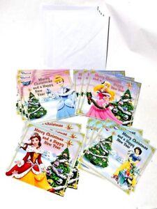 Disney Christmas New Year Card x12 Pack + Envelopes Cinderella Snow White