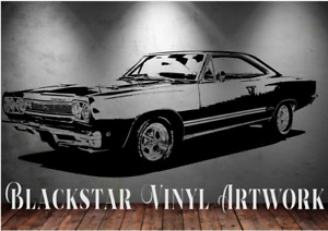 "1968 PLYMOUTH GTX LARGE MAN CAVE OFFICE DIE CUT DECAL WALL ART 23"" X 58"""