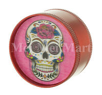 """2"""" Candy Skull 3D Holographic Grinder RED 3 Piece Tobacco Herb Spice GR41CSK3D"""