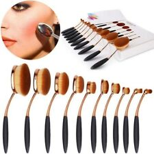 Deluxe 10 Pcs Toothbrush Style Gold Make up Brushes Oval/Linear/Circle Brush Set