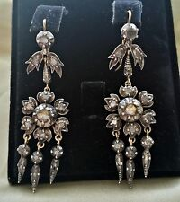 RARE FINE ANTIQUE GEORGIAN C1785 GOLD DIAMONDS GIARDINETTI LONG DANGLE  EARRINGS