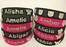 "Personalised Velvet Headbands ""Girls Names"" in Silver Writing -in Black or Pink"