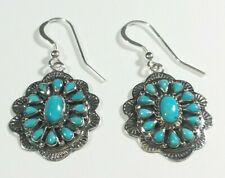 """925 STERLING SILVER ETCHED FLOWER CLUSTER TURQUOISE 1 5/8"""" HOOK EARRINGS"""