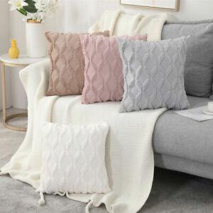 "UK 18"" Luxury Fluffy Plush Soft Cushion Cover Geometric Pillow Cases Home Decor~"