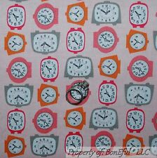BonEful FABRIC FQ Cotton Quilt VTG Pink Retro Hippie Alarm Clock Antique Kitchen