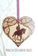 Horse Rider Pony wooden heart wall plaque Equine ornament home decor interior