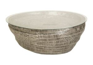 """44"""" W Glass Top Coffee Table Sculptural Stainless Steel Bowl Base Modern"""