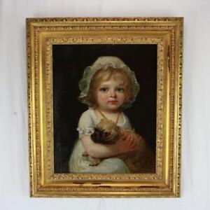 Original Oil on Panel Painting Young Girl with Pug Dog c1830 English, W Collins?