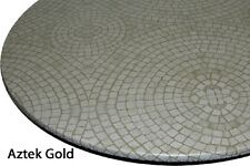"""Tablecloth Bistro 24"""" to 33"""" Elastic Edge Vinyl Table Cover Mosaic Gold Circle"""