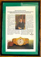 ♛ ROLEX Vintage Day Date 1982 Original Advert Advertising Memorabilia Framed ♛