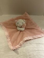 New listing Carters Pink Small Lovey Plush White Bear Security Blanket Satin