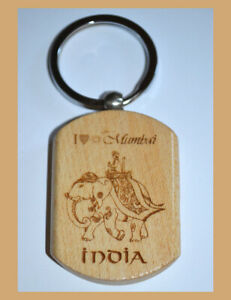 Set of Two(2) Teak Wood Engraved Elephant Keychain Key Ring Souvenir from India