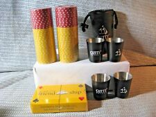 Vintage Cutty Sark Set of 4 black Shot Glass / Poker Chips & Playing Cards