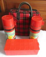 Vintage Aladdin Red Plaid 1970's Picnic Set 2 Thermos Plaid Bag Hipster Lunch