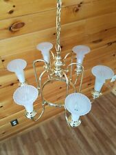 Vtg Brass Chandelier 6 Arm/Light Fixture Tulip Lily Frosted Shades