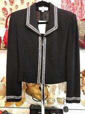 ST. JOHN EVENING Black Santana Knit Evening Jacket with Crystal Trim Sz 8 $1295