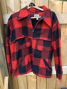 Vintage WOOLRICH Size Xl Red Black Plaid Wool Hunting Coat Jacket