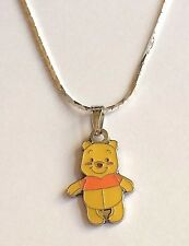 "Silver Winnie The Pooh Necklace Pendant Enamel Plated Cartoon Disney 18"" USA"