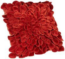 "Throw Couch Pillow Decorative Unique Burnt Orange Red Soft Flower Petals 16x16"""