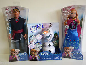 Disney FROZEN - Anna & Kristoff Dolls & Olaf the Snowman figure -Ages 3 & up