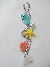 """#3341 7-3/4"""" Ocean Conch,Starfish,Clam w/Rope Embroidery Iron On Applique Patch"""