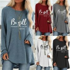 Womens Autumn Long Sleeve Long T Shirt Letters Tunic Pullover Plus Tops Blouse