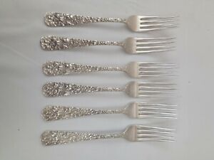 20th Century Stieff Sterling Silver Repousse Rose Six Forks