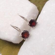 Granat rund rot red schlicht elegant Ohrringe Ohrhänger 925 Sterling Silber neu